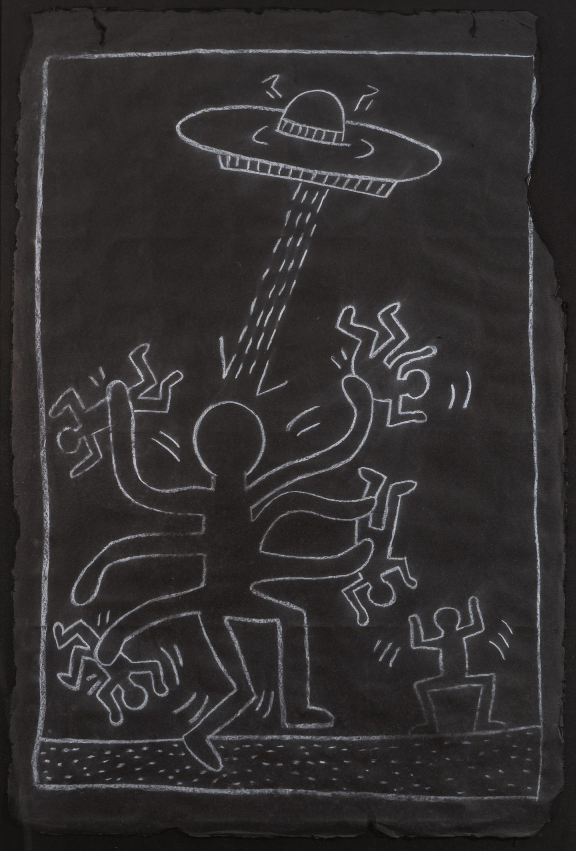 keith-haring-octopus-alien-with-ufo-1983